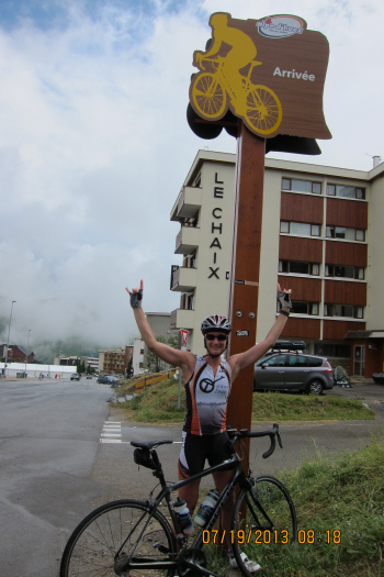Horns Up at the Top of Alpe d'Huez, France