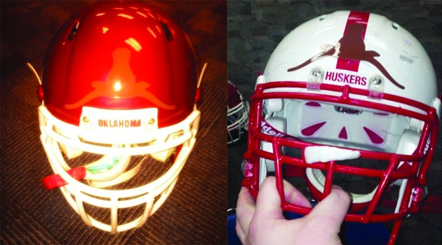 "OU, Nebraska Players Tweet ""Horns Down"" Helmet Photos"