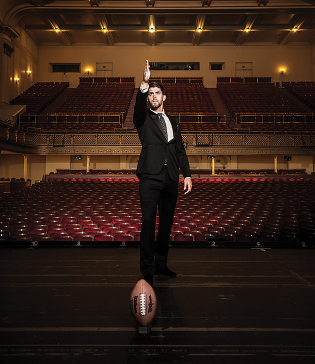 Justin Tucker, Baltimore Ravens kicker, photographed 5 August 2014 in Baltimore MD, for Baltimore Magazine.